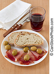 prosciutto with bread on the plate