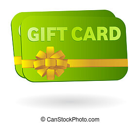 Isolated gift card with ribbon - Illustration of two gift...