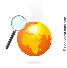 Magnifying glass heating earth