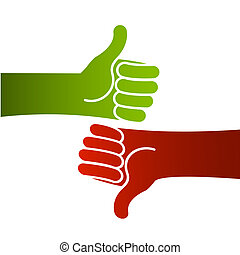 Good bad thumbs up and down - Illustration of hands with...