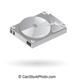 Computer hard disk - Isolated illustration of computer hard...