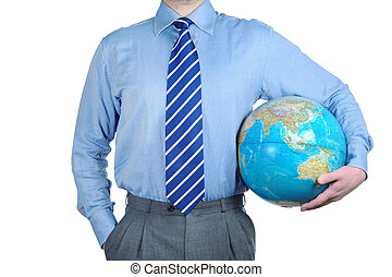 World in your hands - Young businessman holding the globe