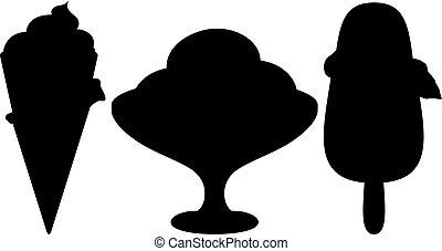 Ice-cream, silhouette, set - Ice cream, set of symbolical...