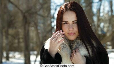 Woman Wearing Winter Fur - A Beautiful Fashion Model Wearing...