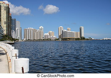 Biscayne Bay - View of buildings facing the Bay of Biscayne,...
