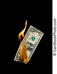 Burning Money - A burning dollar bill symbolising careless...