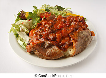 Chilli Jacket Potato with side salad - A beef chilli baked...