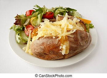 Cheese Jacket Potato with side salad - A Cheddar cheese...
