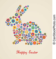 Easter greeting card with bunny and flowered pattern