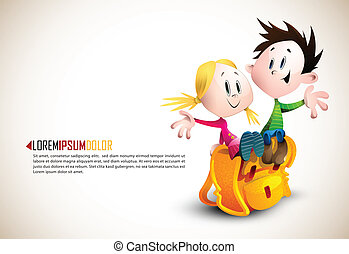 Cute Boy and Girl sitting on School Backpack | Happy...