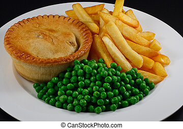 Pie and chips with peas. A traditional British Bar Dish