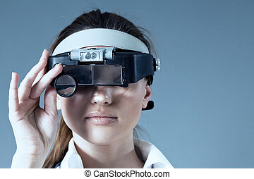 Doctor in magnifying glass mask