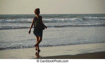 Woman with a dog walks at a beach