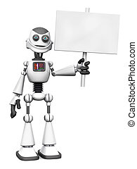 White smiling cartoon robot holding sign.