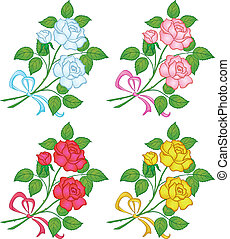 Flowers rose, set - Flowers, rose bouquet, love symbol,...