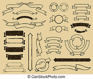 Vintage ribbons set - Vector file has 3 layers: 1-background...