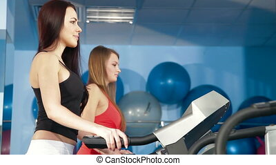 Young Women On Treadmill - Two Young Women Exercising In The...