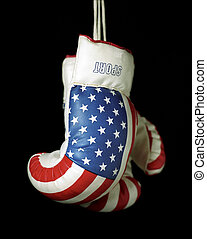 US Boxing Gloves on black background