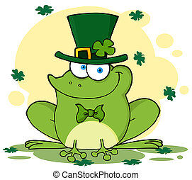 Leprechaun Frog With Background - St Patricks Day Frog...