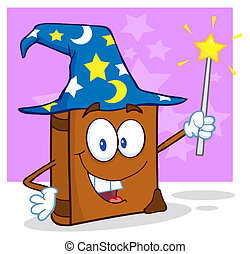 Wizard Book Cartoon Character - Smiling Spell Book With A...