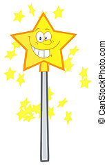Magic Wand Cartoon Character - Happy Smiling Star Magic Wand...