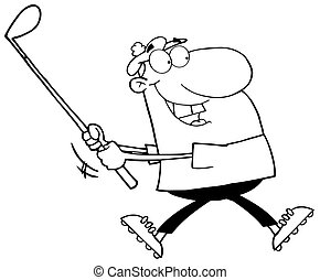 Outlined Happy Golfer Running