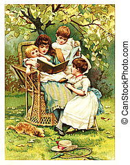 children read the book - POLAND - CIRCA 1889: Illustration...