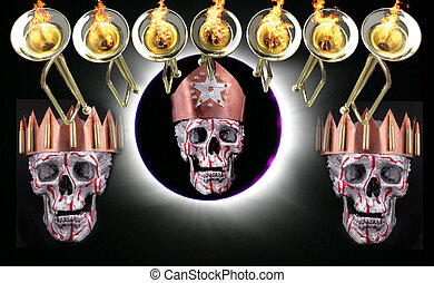 7 trumpets with fire flames, human silver skulls and a solar...