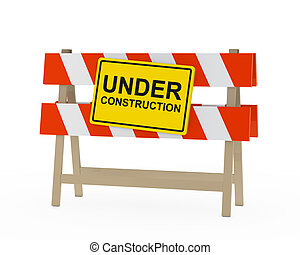 under construction barrier - yellow black under construction...