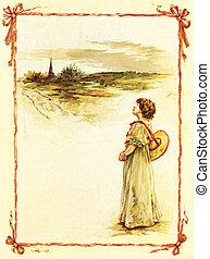 Girl in a countryside - POLAND - CIRCA 1891: Illustration...