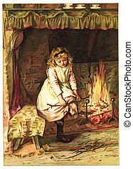 Little girl stoke a fireplace - POLAND - CIRCA 1891:...