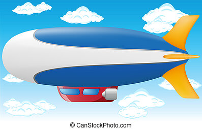zeppelin vector illustration on blue sky