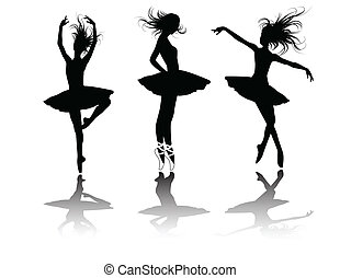 the vector ballet dancers silhouette set