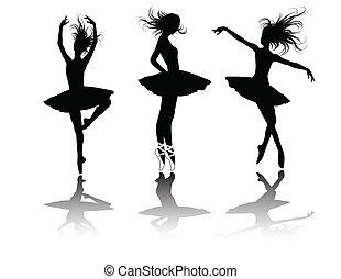vector, ballet, bailarines, silueta