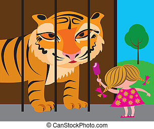 child and tiger at the zoo