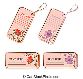 Vector set of tags and stickers with flowers.