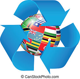 Recycling symbol with flags globe background