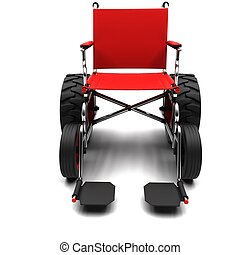 Wheelchair-terrain vehicle on a white background.