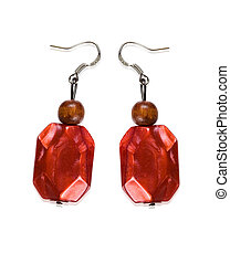 Earrings garnet color of glass and wood