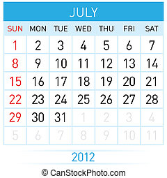 July Calendar. Illustration on white background for design