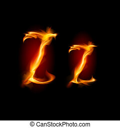 Fiery font. Letter Z - Fiery font. Letter Z. Illustration on...