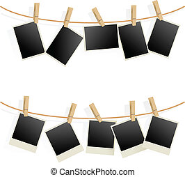 Photo Frames on Rope. Illustration on white background
