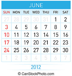June Calendar Illustration on white background for design
