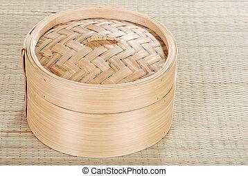 Dumpling basket - top view of a bamboo Dumpling basket