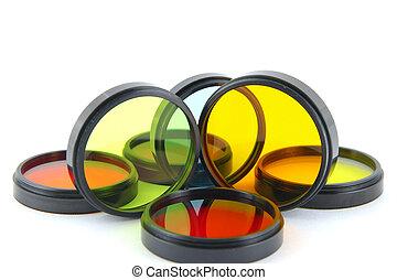 色, レンズ, 上に, 白, フィルター