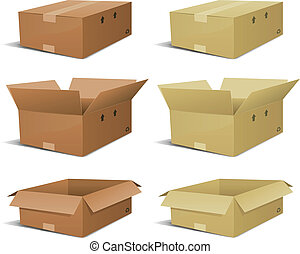 Cardboard Box Delivery Set - Illustration of a set of...