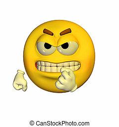 Threatening Emoticon - Illustration of a threatening...