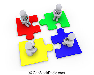 Solution with four different puzzle pieces - Four 3d people...
