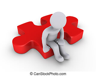 Wondering for the solution - 3d person sitting on red puzzle...