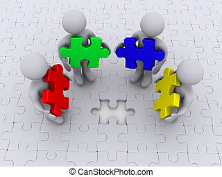 Right color for puzzle completion - Four 3d people holding...